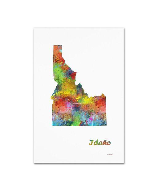 "Trademark Global Marlene Watson 'Idaho State Map-1' Canvas Art - 30"" x 47"""