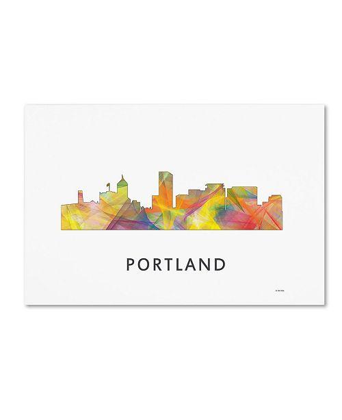 "Trademark Global Marlene Watson 'Portland Oregon Skyline WB-1' Canvas Art - 30"" x 47"""