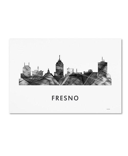 "Trademark Global Marlene Watson 'Fresno California Skyline WB-BW' Canvas Art - 22"" x 32"""