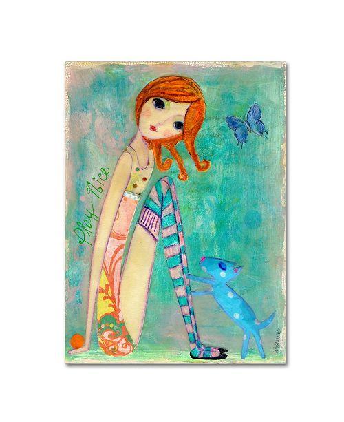 "Trademark Global Wyanne 'Big Eyed Girl Play Nice' Canvas Art - 35"" x 47"""
