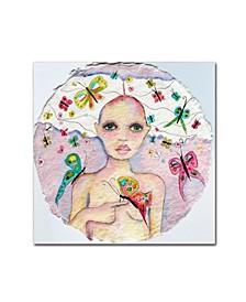 """Wyanne 'Butterfly Girl' Canvas Art - 35"""" x 35"""""""