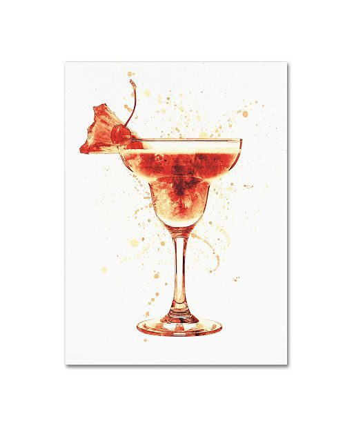 "Trademark Global Michael Tompsett 'Cocktail Drinks Glass Watercolor X' Canvas Art - 35"" x 47"""