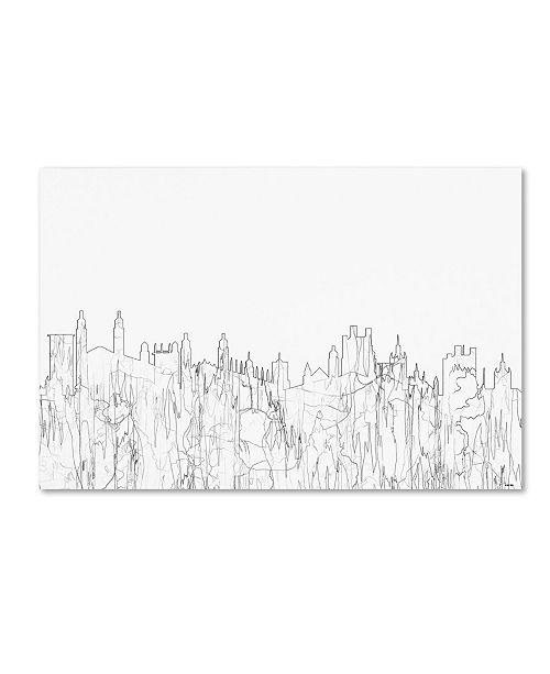 "Trademark Global Marlene Watson 'Cambridge England Skyline BW Thin Line' Canvas Art - 30"" x 47"""