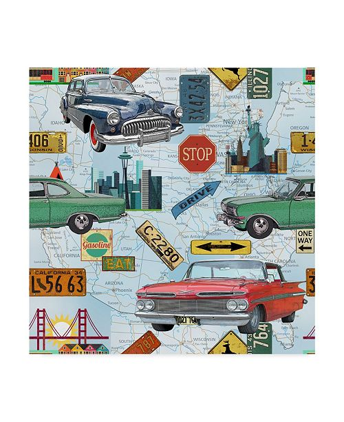 """Trademark Global Jean Plout 'Classic Map' Canvas Art - 35"""" x 35"""""""