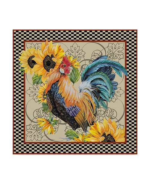 """Trademark Global Jean Plout 'Sunflower Rooster' Canvas Art - 35"""" x 35"""""""