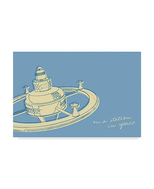 "Trademark Global John W. Golden 'Lunastrella Space Station' Canvas Art - 22"" x 32"""