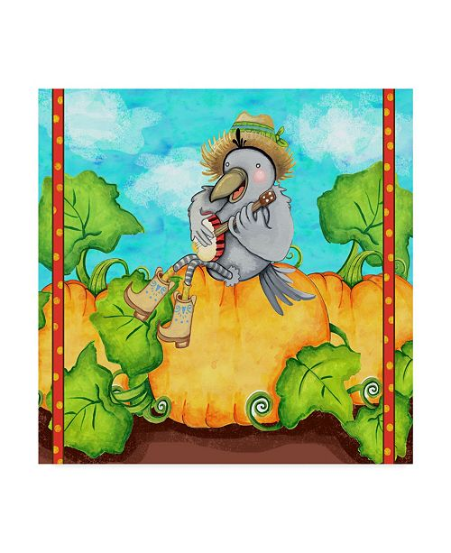 "Trademark Global Valarie Wade 'Farmer Crow Pumpkin Patch' Canvas Art - 35"" x 35"""