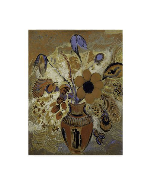 """Trademark Global Odilon Redon 'Etruscan Vase With Flowers' Canvas Art - 47"""" x 35"""""""