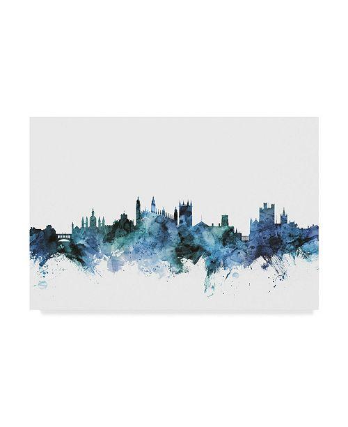 "Trademark Global Michael Tompsett 'Cambridge England Blue Teal Skyline' Canvas Art - 32"" x 22"""