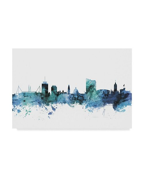 "Trademark Global Michael Tompsett 'Cardiff Wales Blue Teal Skyline' Canvas Art - 47"" x 30"""