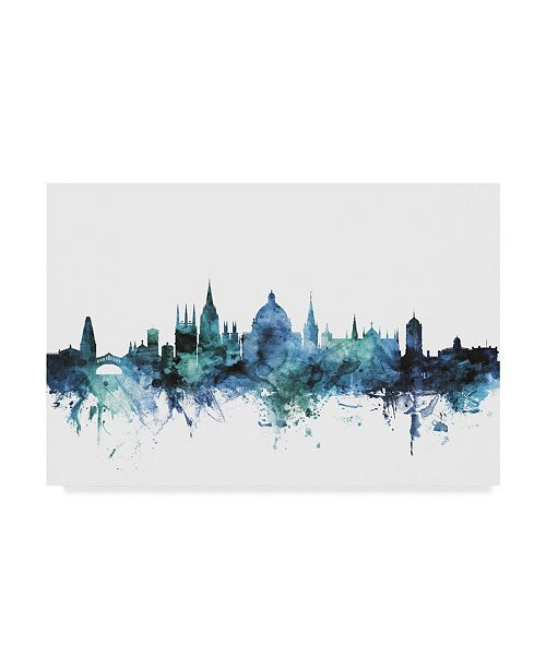 "Trademark Global Michael Tompsett 'Oxford England Blue Teal Skyline' Canvas Art - 24"" x 16"""