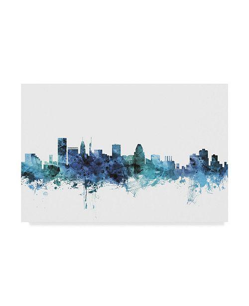 "Trademark Global Michael Tompsett 'Baltimore Maryland Blue Teal Skyline' Canvas Art - 32"" x 22"""