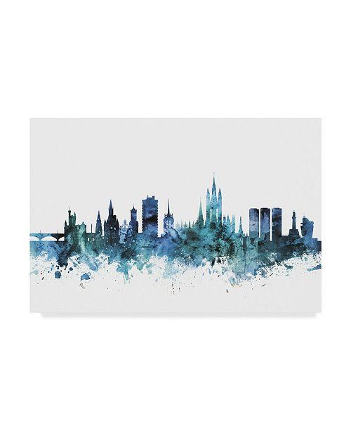 """Trademark Global Michael Tompsett 'Aberdeen Scotland Blue Teal Skyline' Canvas Art - 24"""" x 16"""""""