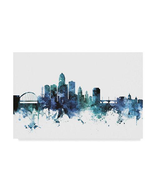"Trademark Global Michael Tompsett 'Des Moines Iowa Blue Teal Skyline' Canvas Art - 47"" x 30"""