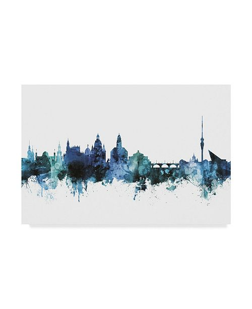 "Trademark Global Michael Tompsett 'Dresden Germany Blue Teal Skyline' Canvas Art - 24"" x 16"""