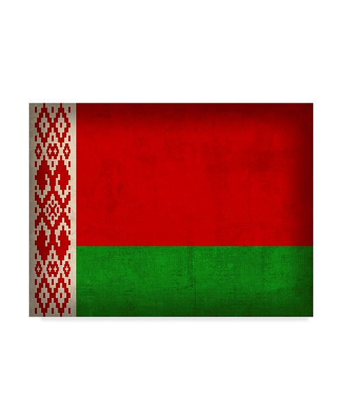 "Trademark Global Red Atlas Designs 'Belarus Distressed Flag' Canvas Art - 24"" x 18"""
