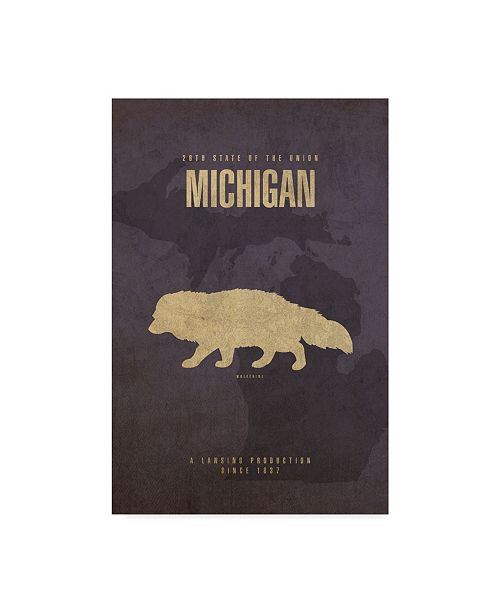 "Trademark Global Red Atlas Designs 'State Animal Michigan' Canvas Art - 47"" x 30"""