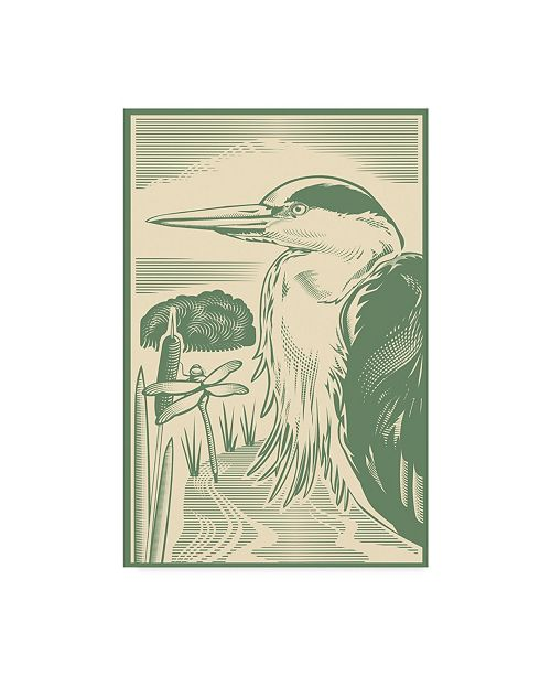 "Trademark Global Mike Hughes 'Woodcut Of Heron' Canvas Art - 30"" x 47"""