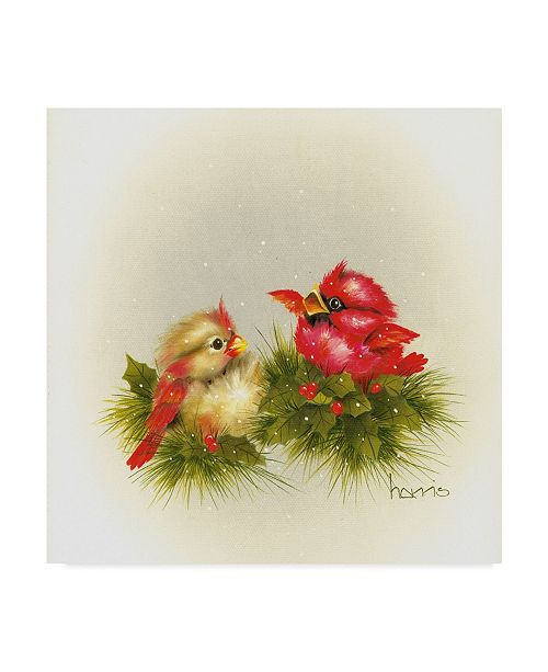 """Trademark Global Peggy Harris 'Cardinals And Holly' Canvas Art - 24"""" x 24"""""""