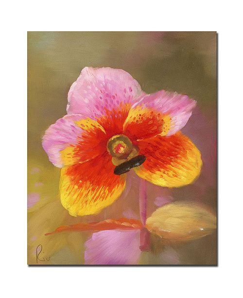 "Trademark Global 'Orange-Pink Orchid' Canvas Art - 32"" x 26"""