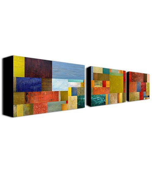 "Trademark Global Michelle Calkins 'Pieces Project IV' Canvas Art Set - 32"" x 18"""