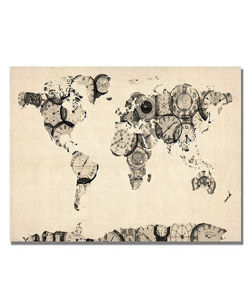 "Trademark Global Michael Tompsett 'Old Clocks World Map' Canvas Art - 32"" x 22"""