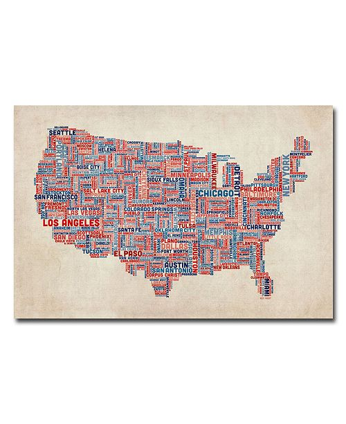 "Trademark Global Michael Tompsett 'US Cities Text Map V' Canvas Art - 47"" x 30"""