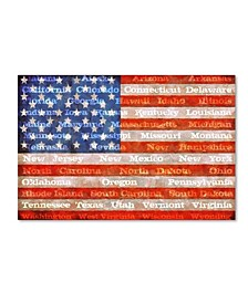 "Michelle Calkins 'American Flag with States' Canvas Art - 24"" x 16"""