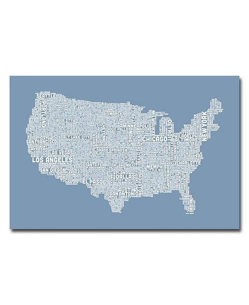 "Trademark Global Michael Tompsett 'US City Map XII' Canvas Art - 47"" x 30"""