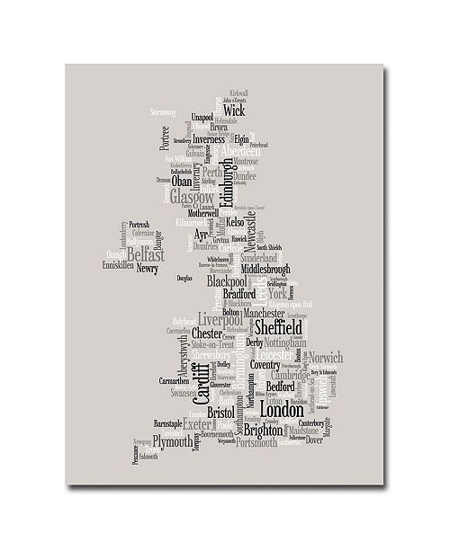 "Trademark Global Michael Tompsett 'UK City Text Map' Canvas Art - 32"" x 24"""