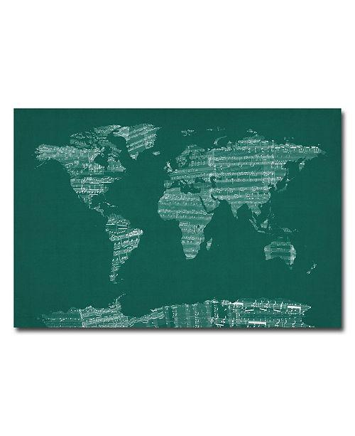 """Trademark Global Michael Tompsett 'World Sheet Music Map in Green' Canvas Art - 24"""" x 16"""""""