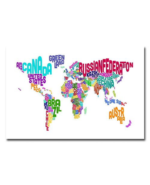 "Trademark Global Michael Tompsett 'Typographic Text Map' Canvas Art - 47"" x 30"""