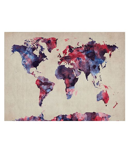 "Trademark Global Michael Tompsett 'Watercolor Map' Canvas Art - 32"" x 22"""