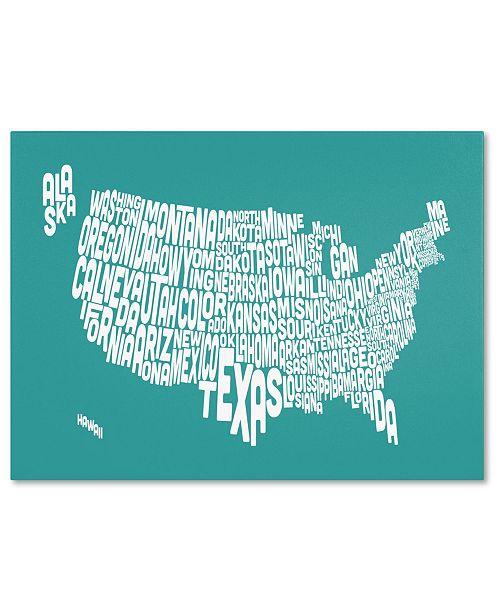 "Trademark Global Michael Tompsett 'TURQOISE-USA States Text Map' Canvas Art - 47"" x 30"""