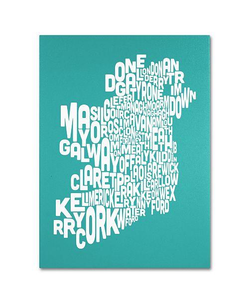 "Trademark Global Michael Tompsett 'TURQOISE-Ireland Text Map' Canvas Art - 32"" x 24"""