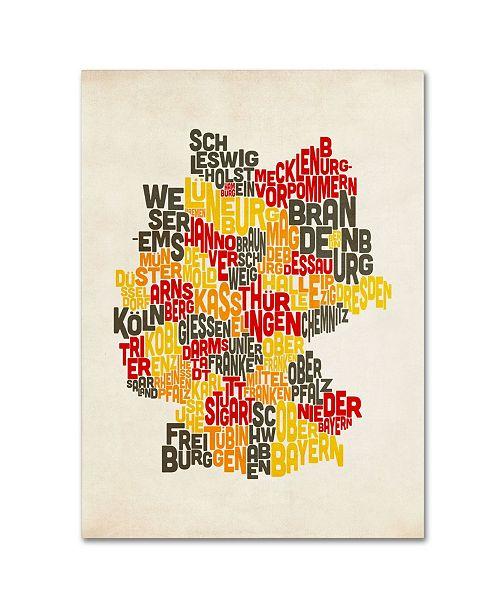 "Trademark Global Michael Tompsett 'Germany Region Text Map' Canvas Art - 47"" x 30"""
