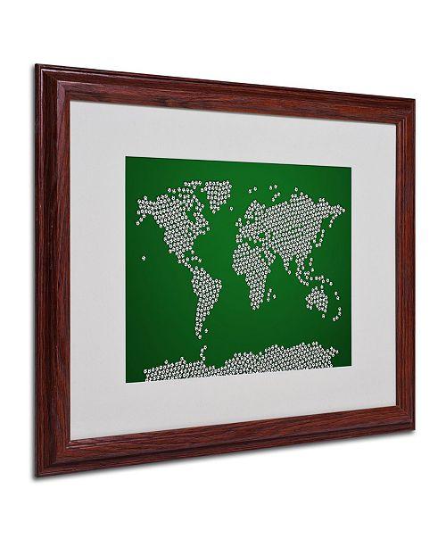 "Trademark Global Michael Tompsett 'Soccer Balls World Map' Matted Framed Art - 20"" x 16"""