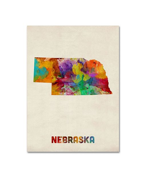 "Trademark Global Michael Tompsett 'Nebraska Map' Canvas Art - 24"" x 18"""
