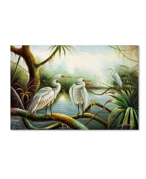 "Trademark Global Victor Giton 'Three Herons' Canvas Art - 47"" x 30"""