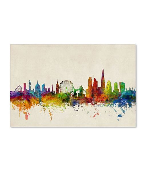 "Trademark Global Michael Tompsett 'London England Skyline VI' Canvas Art - 47"" x 30"""