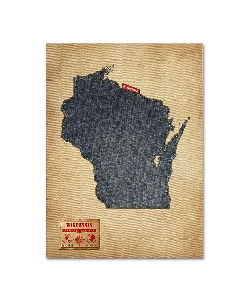 "Trademark Global Michael Tompsett 'Wisconsin Map Denim Jeans Style' Canvas Art - 32"" x 24"""