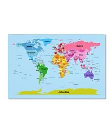 """Michael Tompsett 'World Map for Kids' Canvas Art - 24"""" x 16"""""""