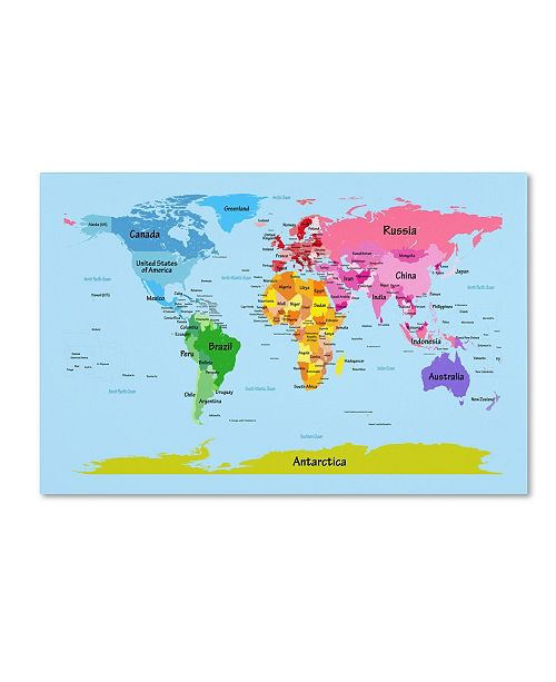 "Trademark Global Michael Tompsett 'World Map for Kids' Canvas Art - 24"" x 16"""