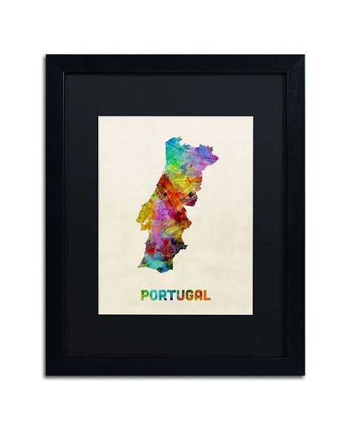 "Trademark Global Michael Tompsett 'Portugal Watercolor Map' Matted Framed Art - 20"" x 16"""