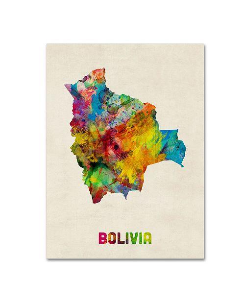 "Trademark Global Michael Tompsett 'Bolivia Watercolor Map' Canvas Art - 35"" x 47"""