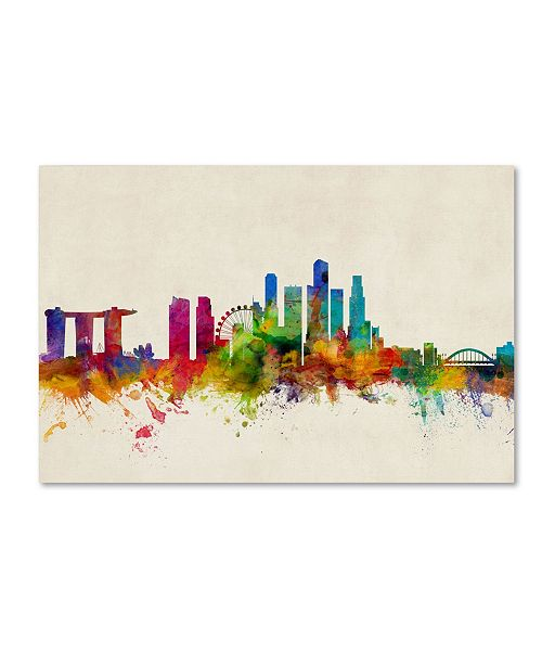 "Trademark Global Michael Tompsett 'Singapore Skyline' Canvas Art - 22"" x 32"""