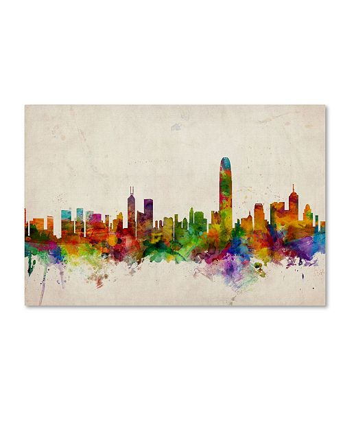 "Trademark Global Michael Tompsett 'Hong Kong Skyline' Canvas Art - 26"" x 40"""