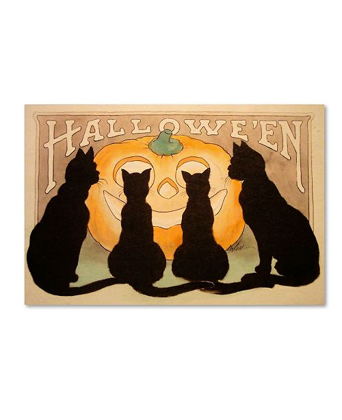 "Trademark Global Vintage Apple Collection 'Halloween Black Cats Pumpkin' Canvas Art - 12"" x 19"""