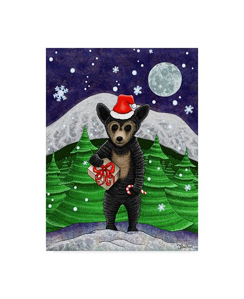 "Trademark Global Jake Hose 'Holiday Black Bear' Canvas Art - 14"" x 19"""