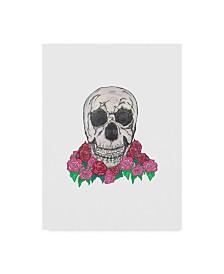 "Jessmessin 'Skull Rose Bush' Canvas Art - 14"" x 19"""